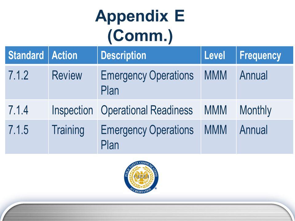 Appendix E (Comm.)