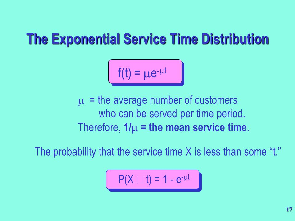 17 f(t) =  e -  t  = the average number of customers who can be served per time period. Therefore, 1/  = the mean service time. The probability th