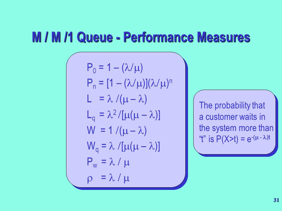 "31 The probability that a customer waits in the system more than ""t"" is P(X>t) = e - (  - )t The probability that a customer waits in the system more"