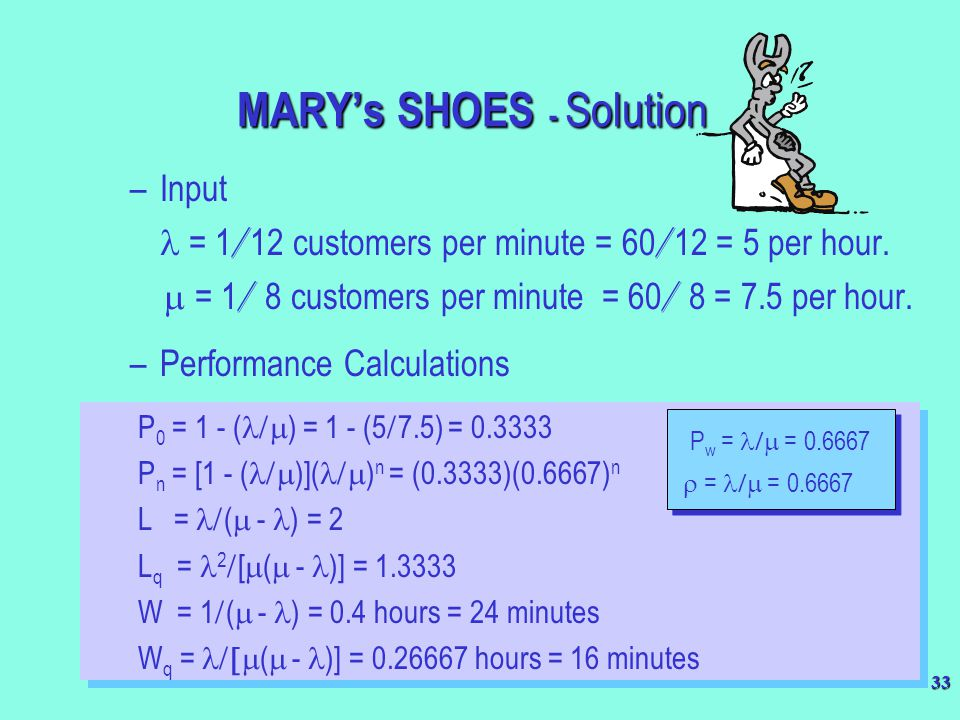 33 MARY's SHOES - Solution –Input = 1 / 12 customers per minute = 60 / 12 = 5 per hour.  = 1 / 8 customers per minute = 60 / 8 = 7.5 per hour. –Perf