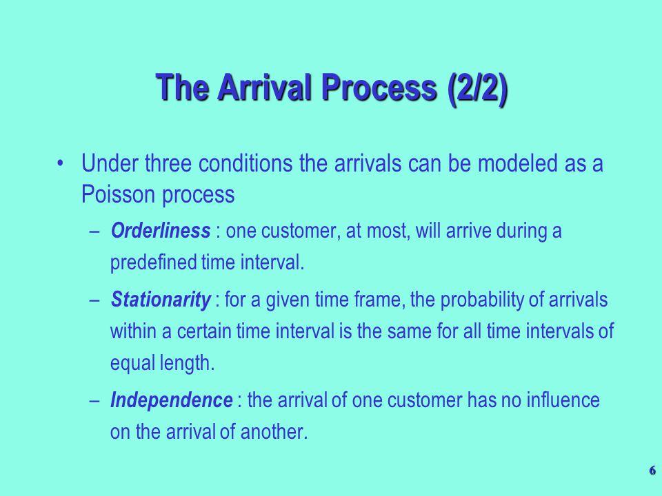 7 P(X = k) = Where = mean arrival rate per time unit.