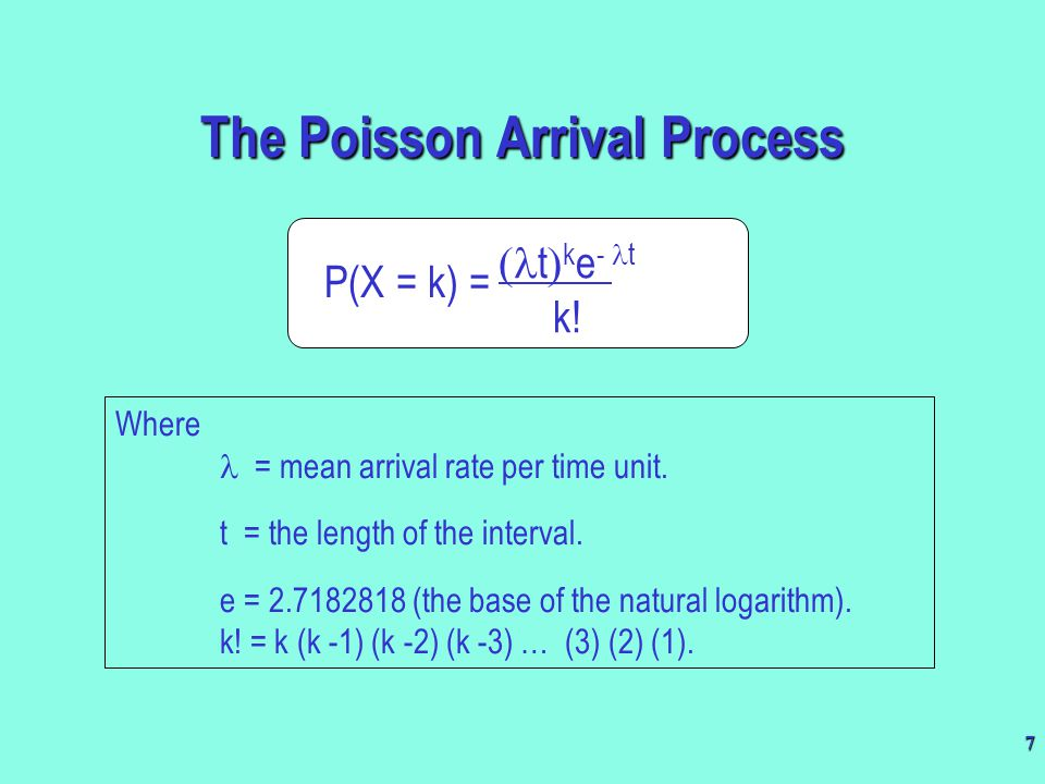 18 Schematic illustration of the exponential distribution The probability that service is completed within t time units P(X  t) = 1 - e -  t X = t