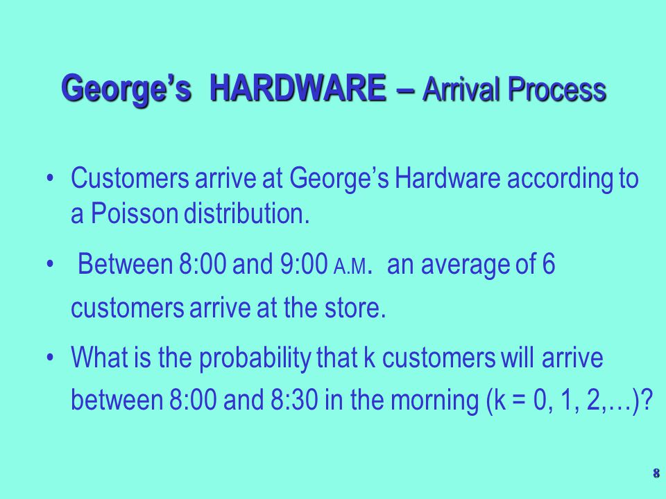 39 This is an M / M / 3 queuing system.–Input  100 customers per hour.