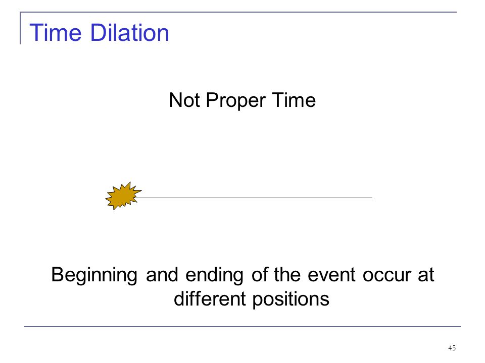 44 Time Dilation To understand time dilation the idea of proper time must be understood: The term proper time,T 0, is the time difference between two