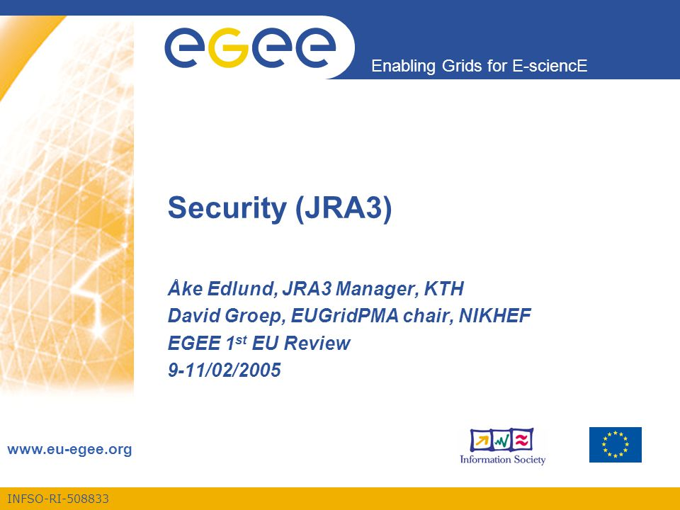 INFSO-RI-508833 Enabling Grids for E-sciencE www.eu-egee.org Security (JRA3) Åke Edlund, JRA3 Manager, KTH David Groep, EUGridPMA chair, NIKHEF EGEE 1 st EU Review 9-11/02/2005
