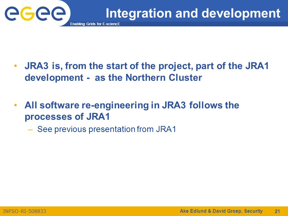 Enabling Grids for E-sciencE INFSO-RI-508833 Ake Edlund & David Groep, Security 21 Integration and development JRA3 is, from the start of the project, part of the JRA1 development - as the Northern Cluster All software re-engineering in JRA3 follows the processes of JRA1 –See previous presentation from JRA1