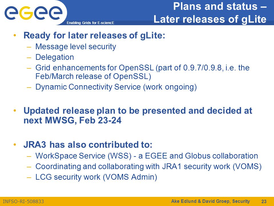 Enabling Grids for E-sciencE INFSO-RI-508833 Ake Edlund & David Groep, Security 23 Plans and status – Later releases of gLite Ready for later releases of gLite: –Message level security –Delegation –Grid enhancements for OpenSSL (part of 0.9.7/0.9.8, i.e.