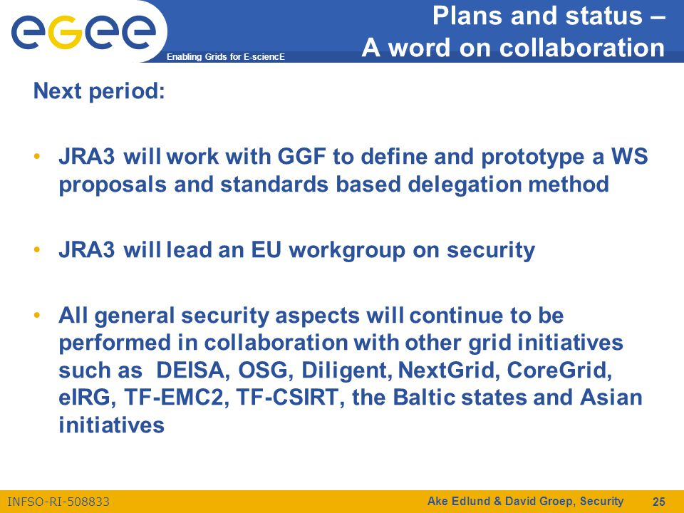 Enabling Grids for E-sciencE INFSO-RI-508833 Ake Edlund & David Groep, Security 25 Plans and status – A word on collaboration Next period: JRA3 will work with GGF to define and prototype a WS proposals and standards based delegation method JRA3 will lead an EU workgroup on security All general security aspects will continue to be performed in collaboration with other grid initiatives such as DEISA, OSG, Diligent, NextGrid, CoreGrid, eIRG, TF-EMC2, TF-CSIRT, the Baltic states and Asian initiatives