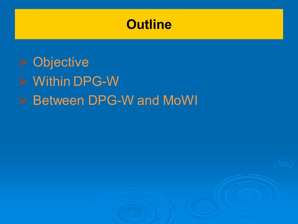 Outline   Objective   Within DPG-W   Between DPG-W and MoWI