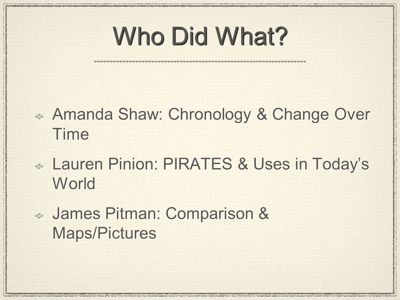Who Did What? Amanda Shaw: Chronology & Change Over Time Lauren Pinion: PIRATES & Uses in Today's World James Pitman: Comparison & Maps/Pictures Amand