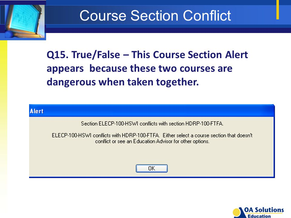Course Section Conflict Q15.