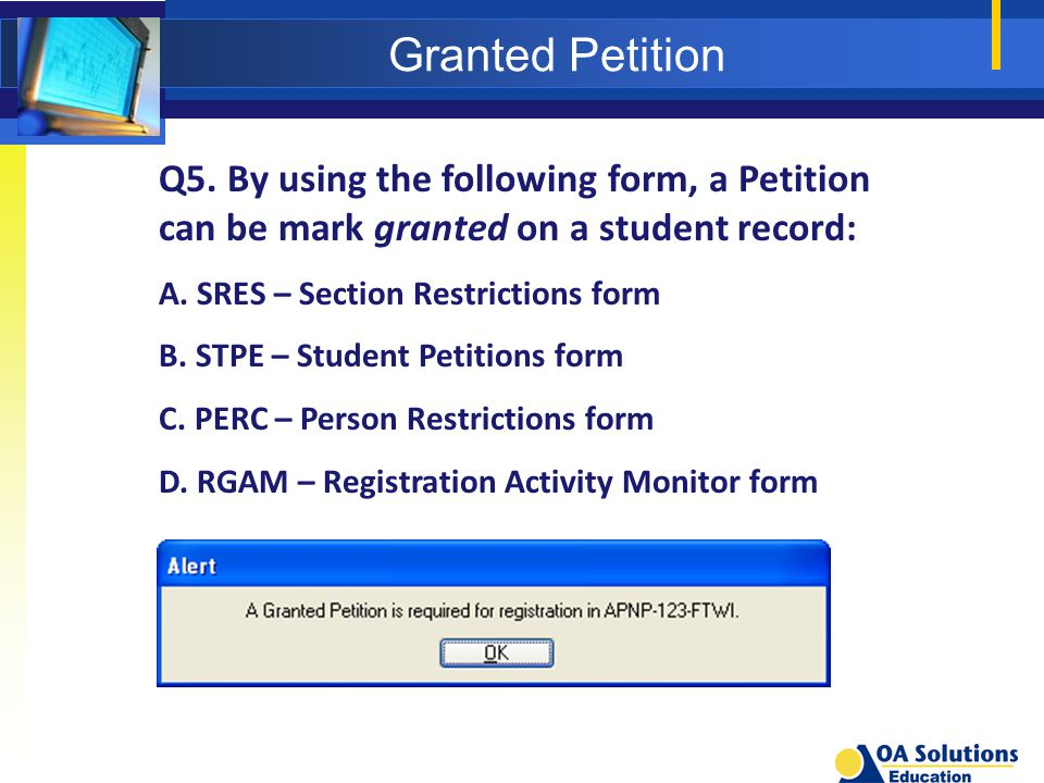 Granted Petition Q5.