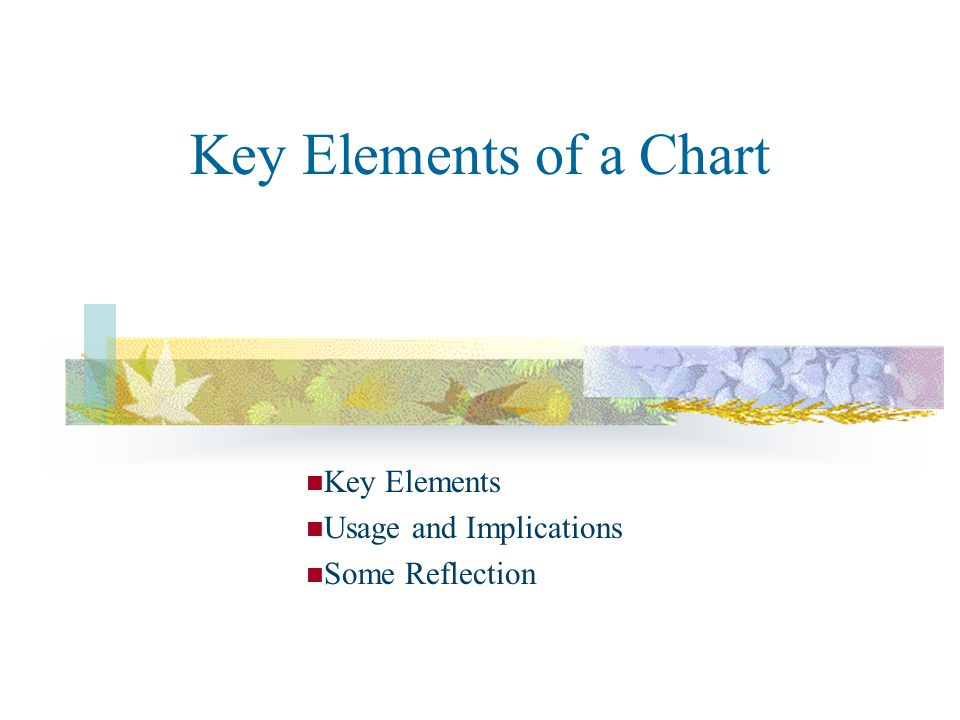 Key Elements of a Chart Key Elements Usage and Implications Some Reflection