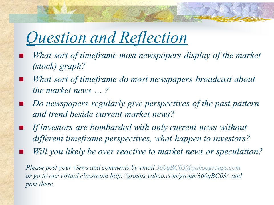 Question and Reflection What sort of timeframe most newspapers display of the market (stock) graph.