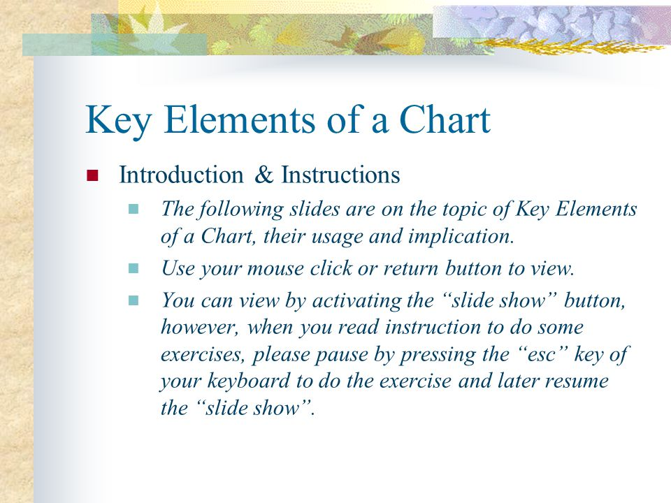 Key Elements of a Chart Introduction & Instructions The following slides are on the topic of Key Elements of a Chart, their usage and implication.