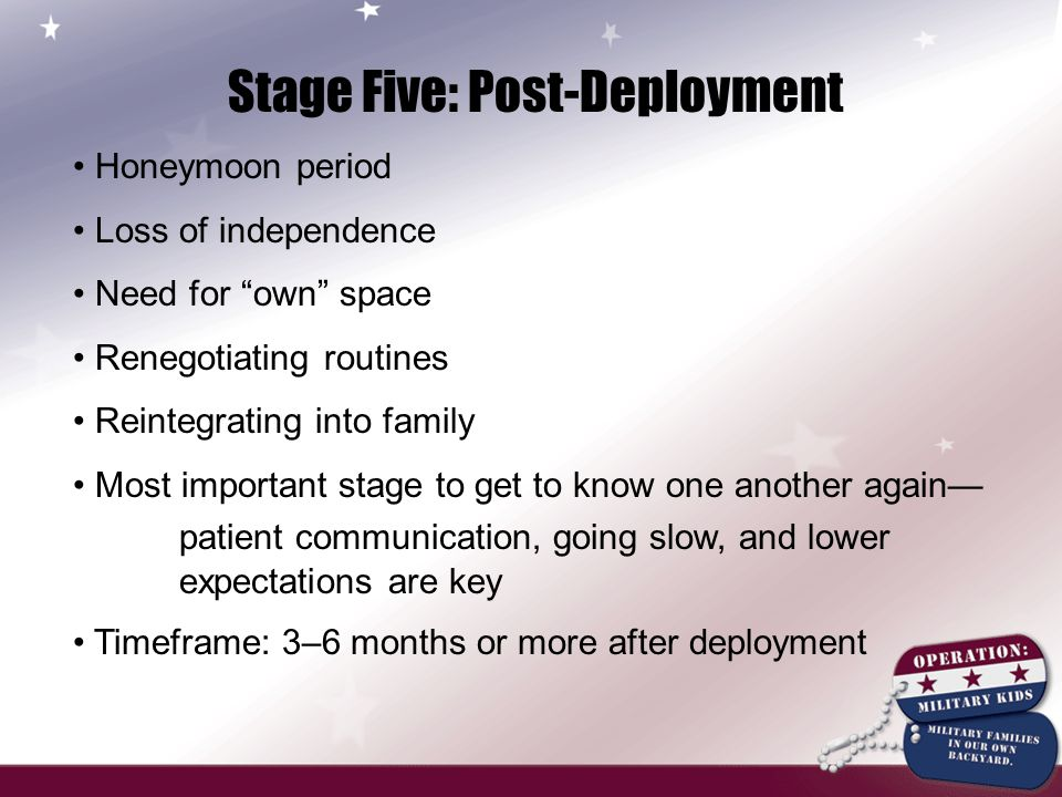 Stage Five: Post-Deployment Honeymoon period Loss of independence Need for own space Renegotiating routines Reintegrating into family Most important stage to get to know one another again— patient communication, going slow, and lower expectations are key Timeframe: 3–6 months or more after deployment