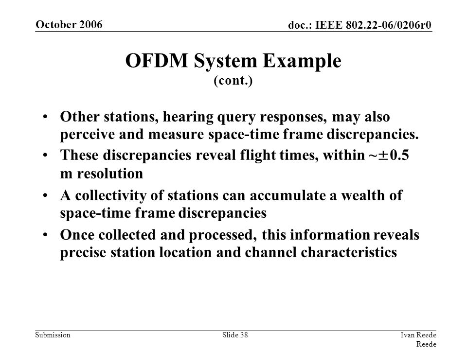 doc.: IEEE 802.22-06/0206r0 Submission October 2006 Ivan Reede Reede Slide 38 Other stations, hearing query responses, may also perceive and measure space-time frame discrepancies.