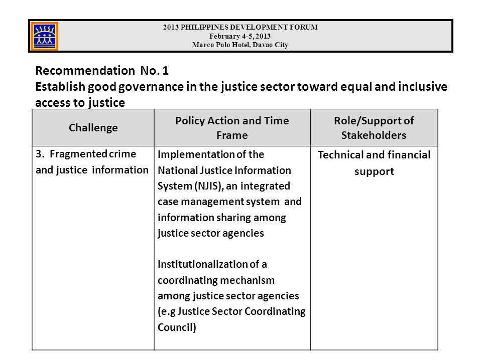 Recommendation No. 1 Establish good governance in the justice sector toward equal and inclusive access to justice Challenge Policy Action and Time Fra