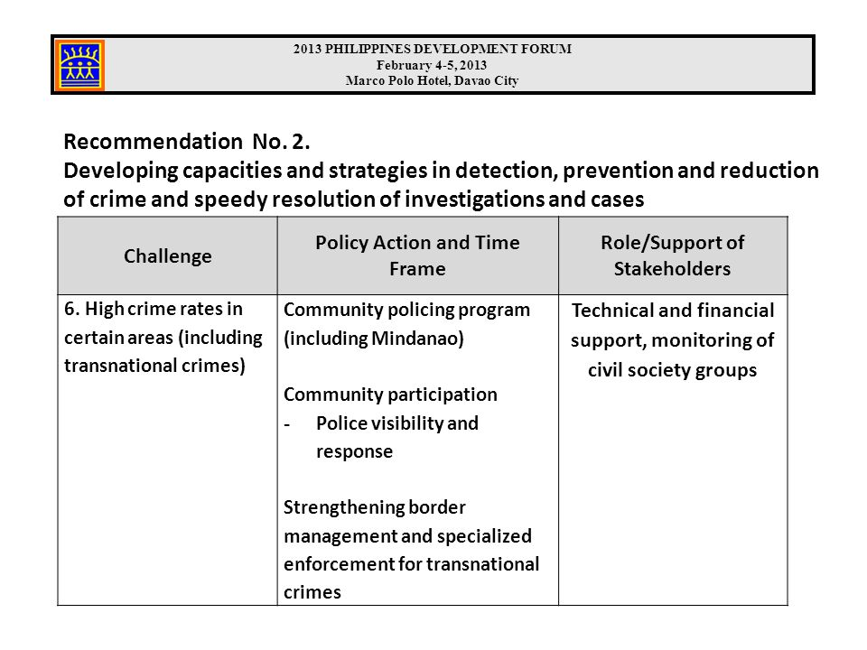 Recommendation No. 2. Developing capacities and strategies in detection, prevention and reduction of crime and speedy resolution of investigations and