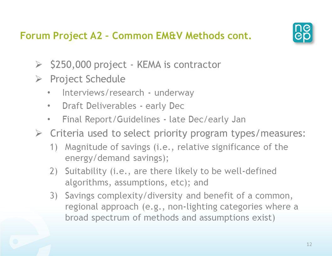Forum Project A2 – Common EM&V Methods cont.