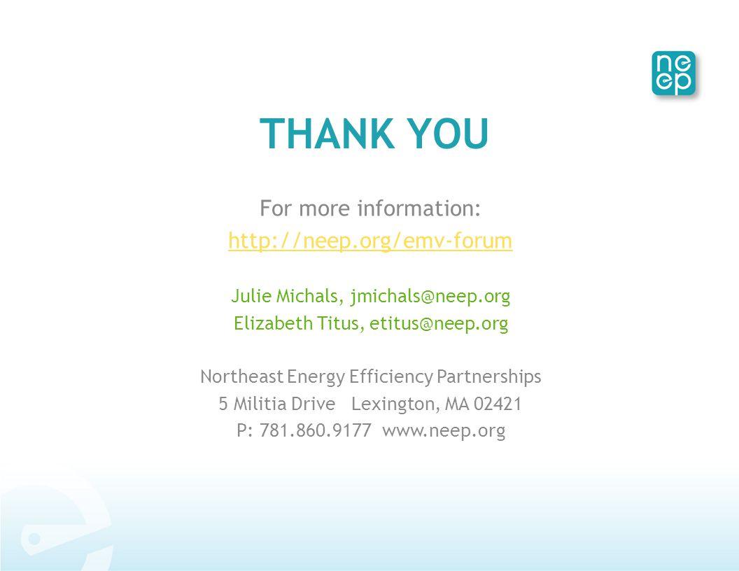 THANK YOU For more information: http://neep.org/emv-forum Julie Michals, jmichals@neep.org Elizabeth Titus, etitus@neep.org Northeast Energy Efficiency Partnerships 5 Militia Drive Lexington, MA 02421 P: 781.860.9177 www.neep.org