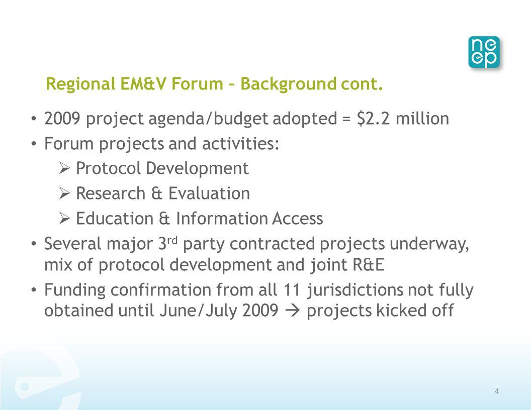Regional EM&V Forum – Background cont.