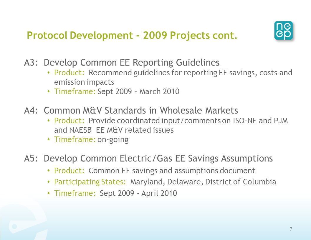 Protocol Development - 2009 Projects cont.