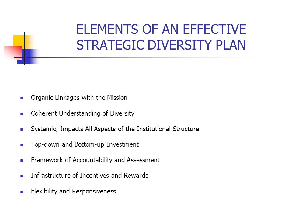 ELEMENTS OF AN EFFECTIVE STRATEGIC DIVERSITY PLAN Organic Linkages with the Mission Coherent Understanding of Diversity Systemic, Impacts All Aspects of the Institutional Structure Top-down and Bottom-up Investment Framework of Accountability and Assessment Infrastructure of Incentives and Rewards Flexibility and Responsiveness