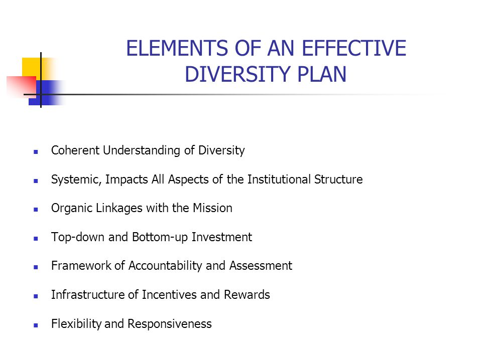 ELEMENTS OF AN EFFECTIVE DIVERSITY PLAN Coherent Understanding of Diversity Systemic, Impacts All Aspects of the Institutional Structure Organic Linkages with the Mission Top-down and Bottom-up Investment Framework of Accountability and Assessment Infrastructure of Incentives and Rewards Flexibility and Responsiveness