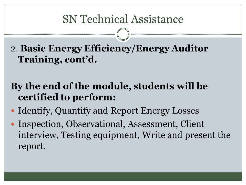 SN Technical Assistance 3.