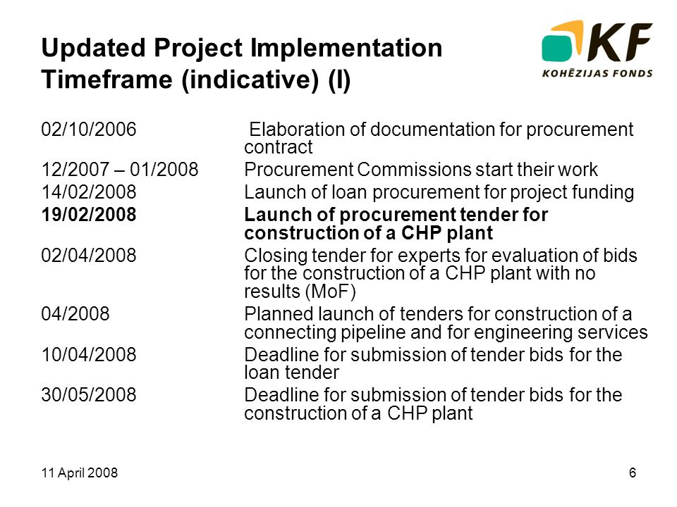 11 April 20086 Updated Project Implementation Timeframe (indicative) (I) 02/10/2006 Elaboration of documentation for procurement contract 12/2007 – 01