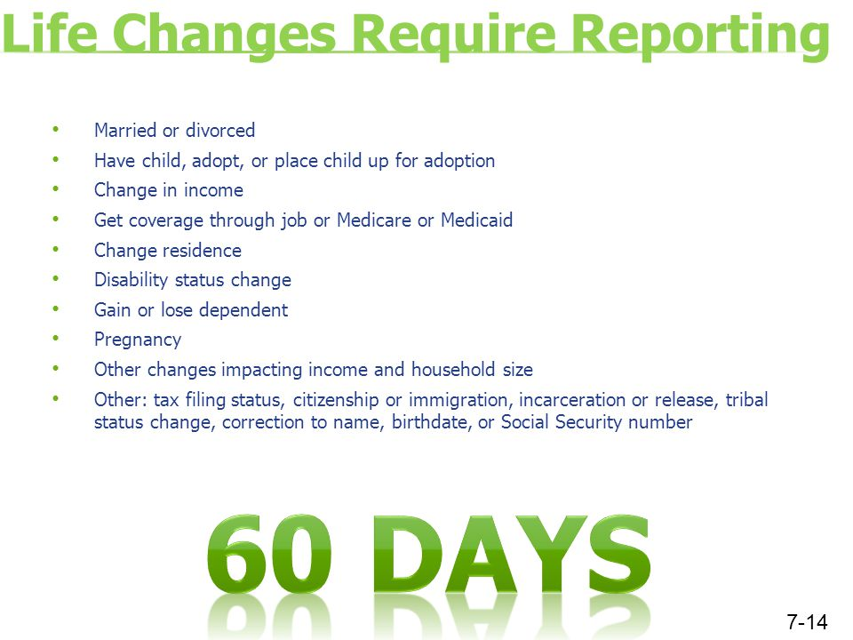Life Changes Require Reporting Married or divorced Have child, adopt, or place child up for adoption Change in income Get coverage through job or Medicare or Medicaid Change residence Disability status change Gain or lose dependent Pregnancy Other changes impacting income and household size Other: tax filing status, citizenship or immigration, incarceration or release, tribal status change, correction to name, birthdate, or Social Security number 7-14