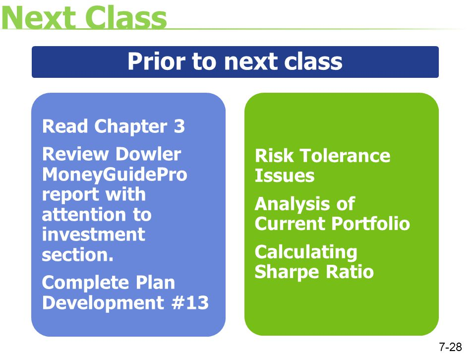 Next Class Prior to next class Read Chapter 3 Review Dowler MoneyGuidePro report with attention to investment section.