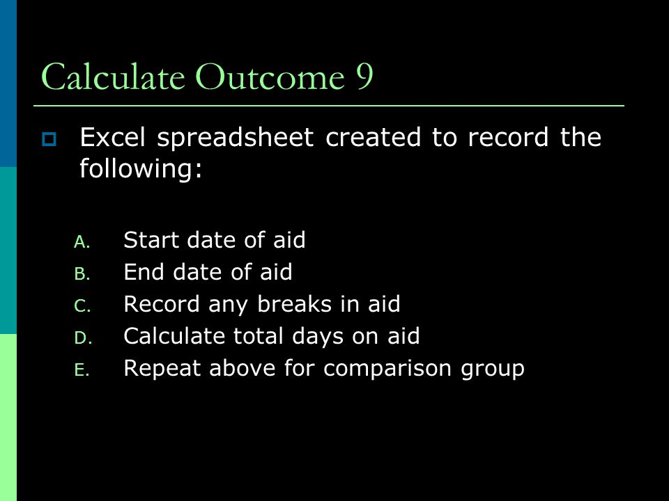Calculate Outcome 9  Excel spreadsheet created to record the following: A.