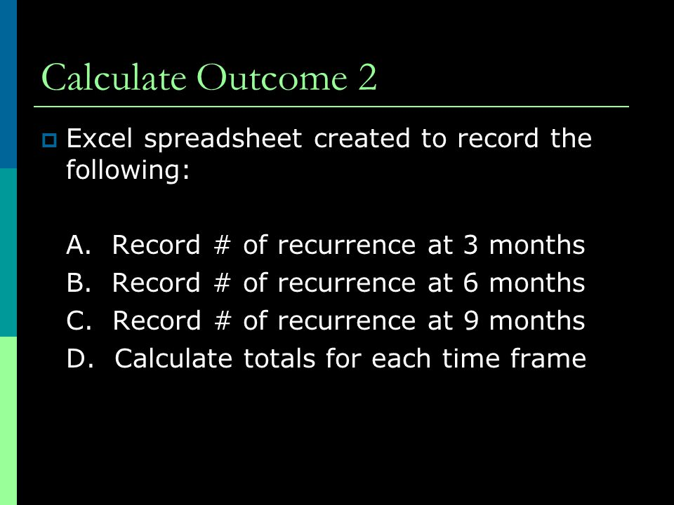 Calculate Outcome 2  Excel spreadsheet created to record the following: A.