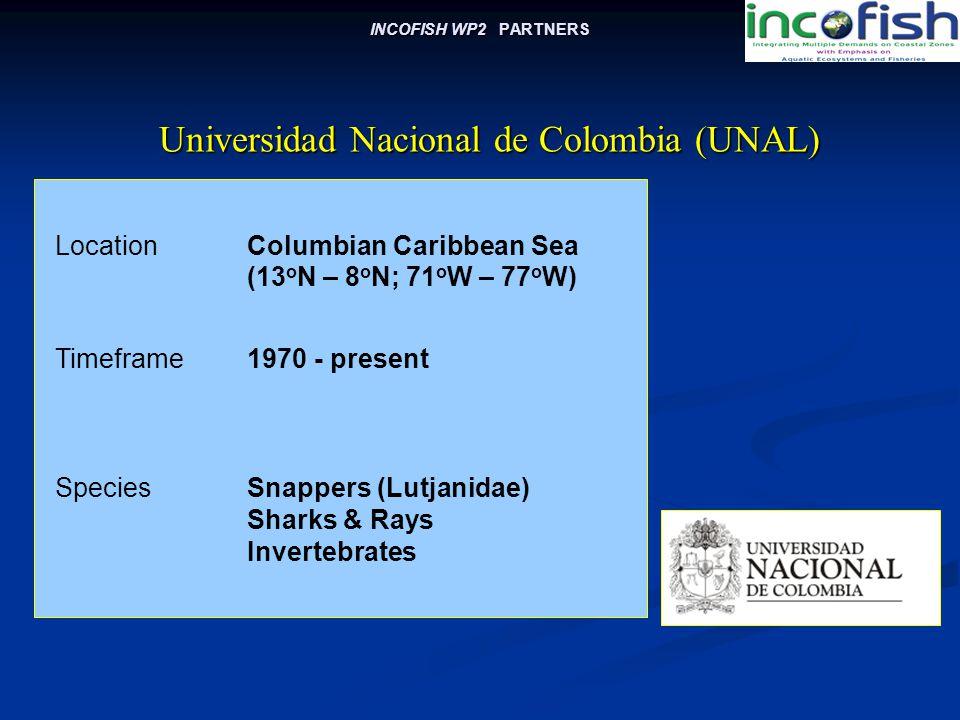 INCOFISH WP2 PARTNERS LocationColumbian Caribbean Sea (13 o N – 8 o N; 71 o W – 77 o W) Universidad Nacional de Colombia (UNAL) Universidad Nacional de Colombia (UNAL) Timeframe1970 - present SpeciesSnappers (Lutjanidae) Sharks & Rays Invertebrates
