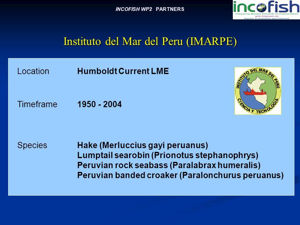 INCOFISH WP2 PARTNERS LocationHumboldt Current LME Instituto del Mar del Peru (IMARPE) Timeframe1950 - 2004 SpeciesHake (Merluccius gayi peruanus) Lumptail searobin (Prionotus stephanophrys) Peruvian rock seabass (Paralabrax humeralis) Peruvian banded croaker (Paralonchurus peruanus)