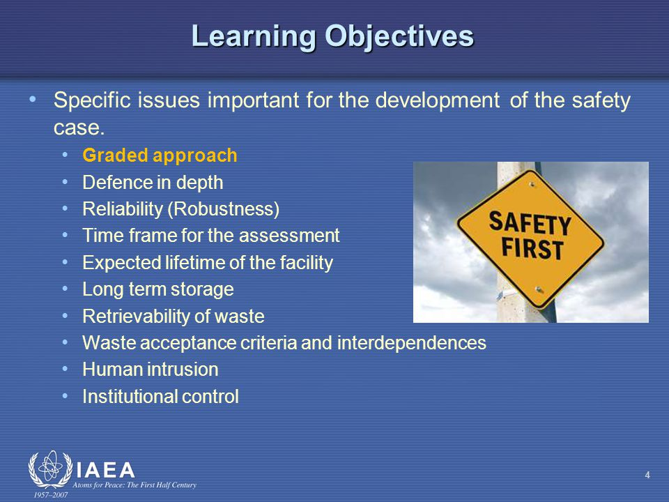 Summary This presentation has covered specific issues important for the development of the safety case - it should help to understand: Graded approach Defence in depth Reliability (Robustness) Time frame for the assessment Expected lifetime of the facility Long term storage Retrievability of waste Waste acceptance criteria and interdependences Human intrusion Institutional control 55