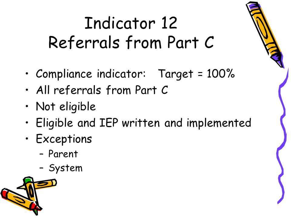 Indicator 12 Referrals from Part C Compliance indicator: Target = 100% All referrals from Part C Not eligible Eligible and IEP written and implemented Exceptions –Parent –System
