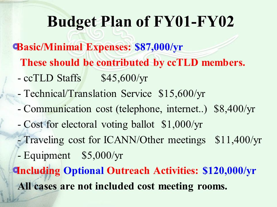 Budget Plan of FY01-FY02  Basic/Minimal Expenses: $87,000/yr These should be contributed by ccTLD members. - ccTLD Staffs $45,600/yr - Technical/Tran