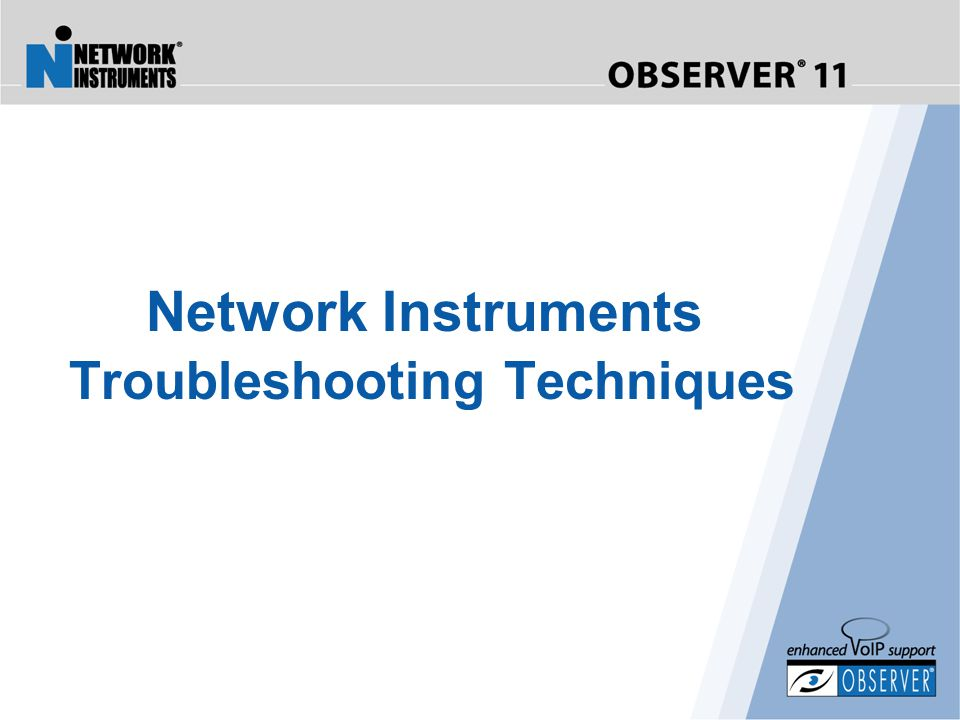 Network Instruments Troubleshooting Techniques