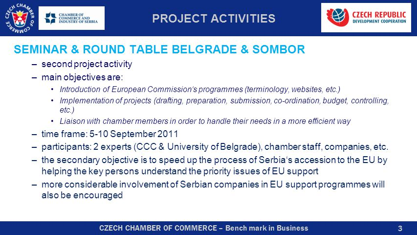 CZECH CHAMBER OF COMMERCE – Bench mark in Business PROJECT ACTIVITIES SEMINAR & ROUND TABLE BELGRADE & SOMBOR –second project activity –main objective