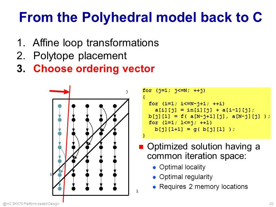 @HC 5KK70 Platform-based Design20 From the Polyhedral model back to C for (j=1; j<=N; ++j) { for (i=1; i<=N-j+1; ++i) a[i][j] = in[i][j] + a[i-1][j]; b[j][1] = f( a[N-j+1][j], a[N-j][j] ); for (l=1; l<=j; ++l) b[j][l+1] = g( b[j][l] ); } 1.