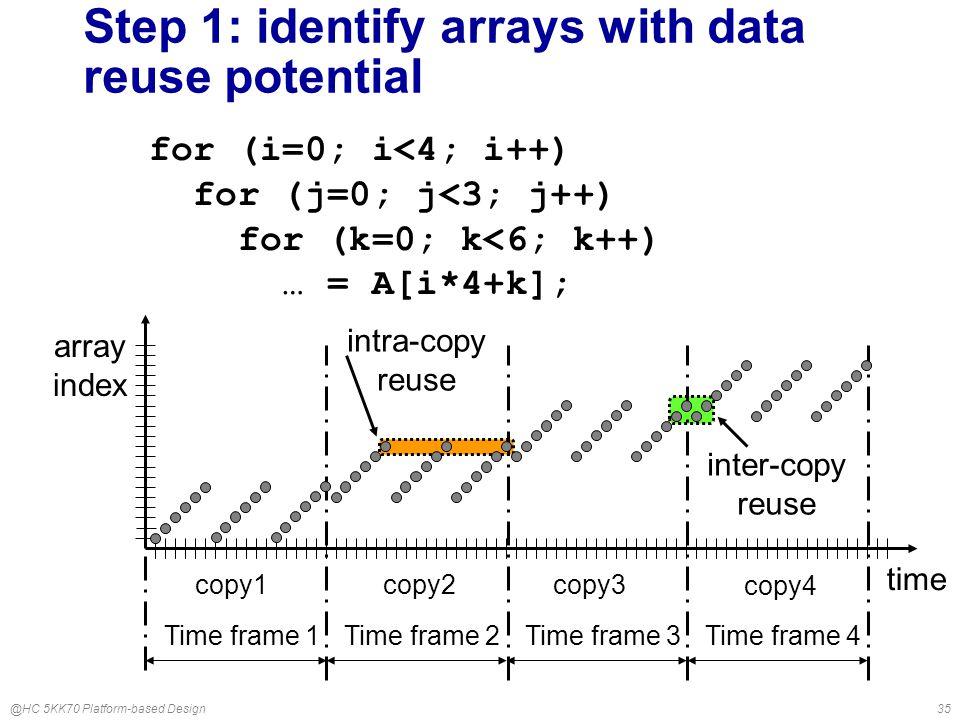 @HC 5KK70 Platform-based Design35 Step 1: identify arrays with data reuse potential for (i=0; i<4; i++) for (j=0; j<3; j++) for (k=0; k<6; k++) … = A[i*4+k]; time copy3 copy4 copy1 copy2 Time frame 1Time frame 2Time frame 3Time frame 4 array index intra-copy reuse inter-copy reuse