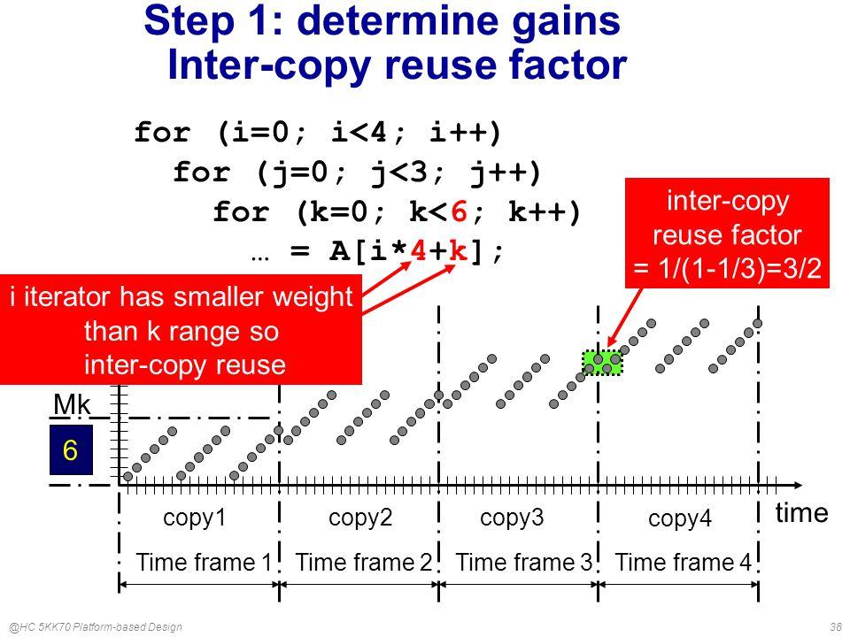 @HC 5KK70 Platform-based Design38 Step 1: determine gains Inter-copy reuse factor time copy3 copy4 copy1 copy2 Time frame 1Time frame 2Time frame 3Time frame 4 array index inter-copy reuse factor = 1/(1-1/3)=3/2 6 Mk for (i=0; i<n; i++) for (j=0; j<3; j++) for (k=0; k<6; k++) … = A[i*4+k]; for (i=0; i<4; i++) for (j=0; j<3; j++) for (k=0; k<6; k++) … = A[i*4+k]; i iterator has smaller weight than k range so inter-copy reuse