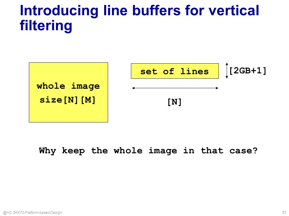 @HC 5KK70 Platform-based Design53 Introducing line buffers for vertical filtering whole image size[N][M] set of lines [2GB+1] Why keep the whole image in that case.