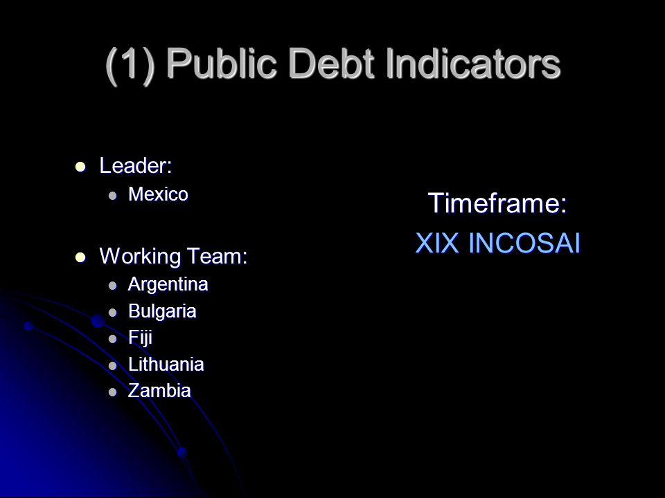 (1) Public Debt Indicators Leader: Leader: Mexico Mexico Working Team: Working Team: Argentina Argentina Bulgaria Bulgaria Fiji Fiji Lithuania Lithuania Zambia Zambia Timeframe: XIX INCOSAI