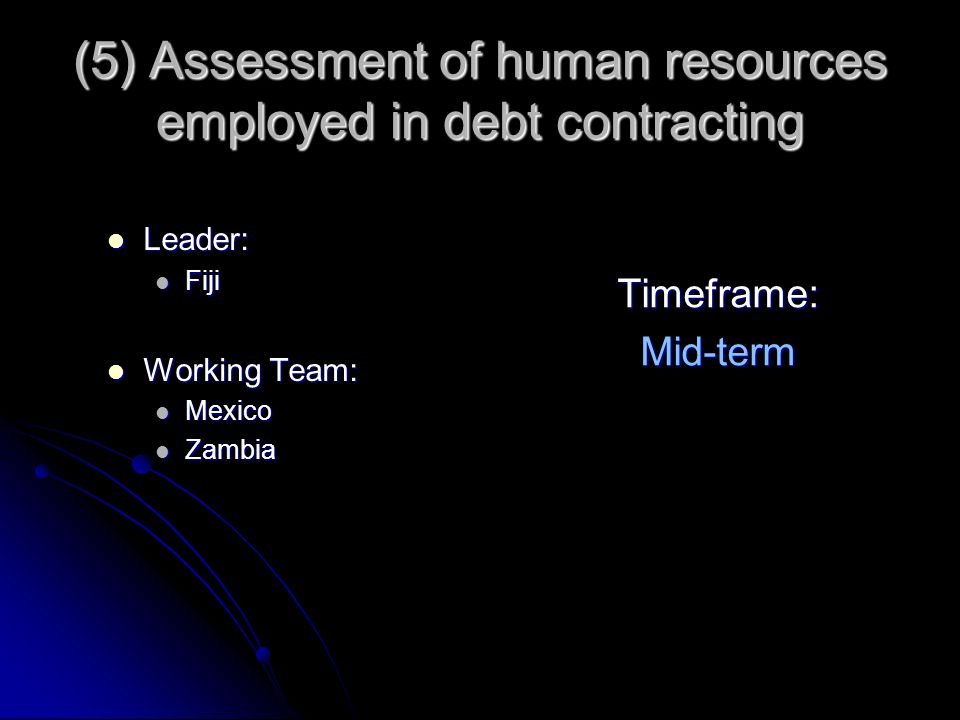 (5) Assessment of human resources employed in debt contracting Leader: Leader: Fiji Fiji Working Team: Working Team: Mexico Mexico Zambia Zambia Timef