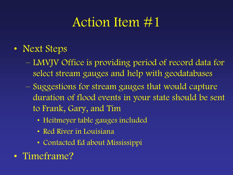 Action Item #2 A subgroup comprised of [Luke] Naylor, Ed Penny, and Dale James was formed to compare the state-specific MOP acreages and DED values from the 30 December 2003 scene with those values reported by Uihlein (2000) in his surveys of private managed lands in the MAV. This subgroup will also document the square water algorithm used by DU to classify MOP so the assumptions of that algorithm can be assessed and the algorithm can be applied to additional classified winter water scenes if they become available.