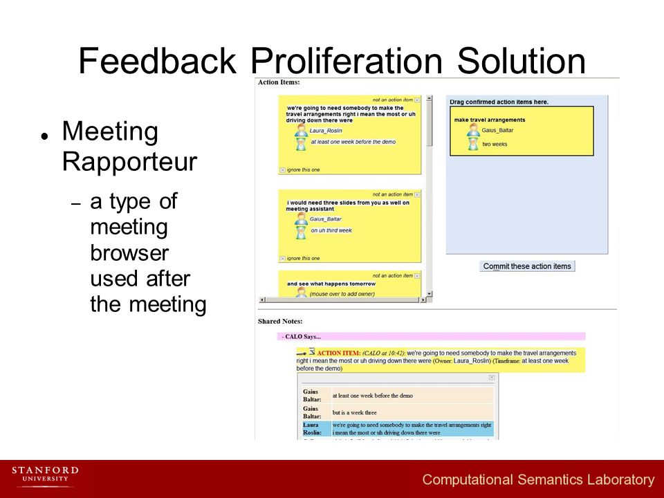 Feedback Proliferation Solution Meeting Rapporteur – a type of meeting browser used after the meeting